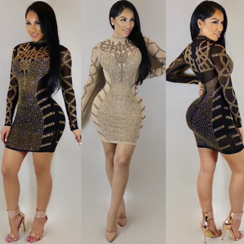 73c19b71d392 Fashion Rhinestone Diamonds Embellished Slim Bodycon Dress Women Turtleneck Long  Sleeve Perspective Party Nightclub Mini Dress Sun Dresses For Sale Sundress  ...