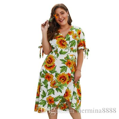 Plus size boho sunflower print big size dress women Summer sash short midi  female sundress Elegant holiday beach vestido
