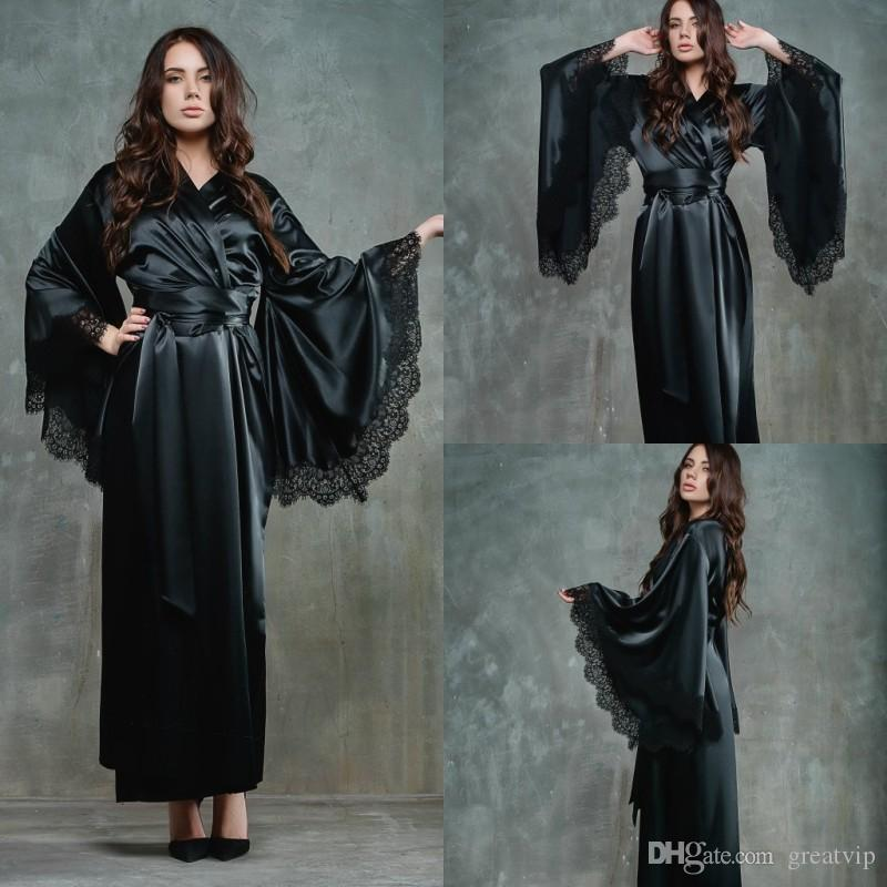 9b53e9b48 2019 Black Women Night Robe Bathrobe Wedding Bride Bridesmaid Robes Silk  Satin Lace Sleepwear Pyjamas Long Lingeries Bridal Party Shower Robe From  Greatvip