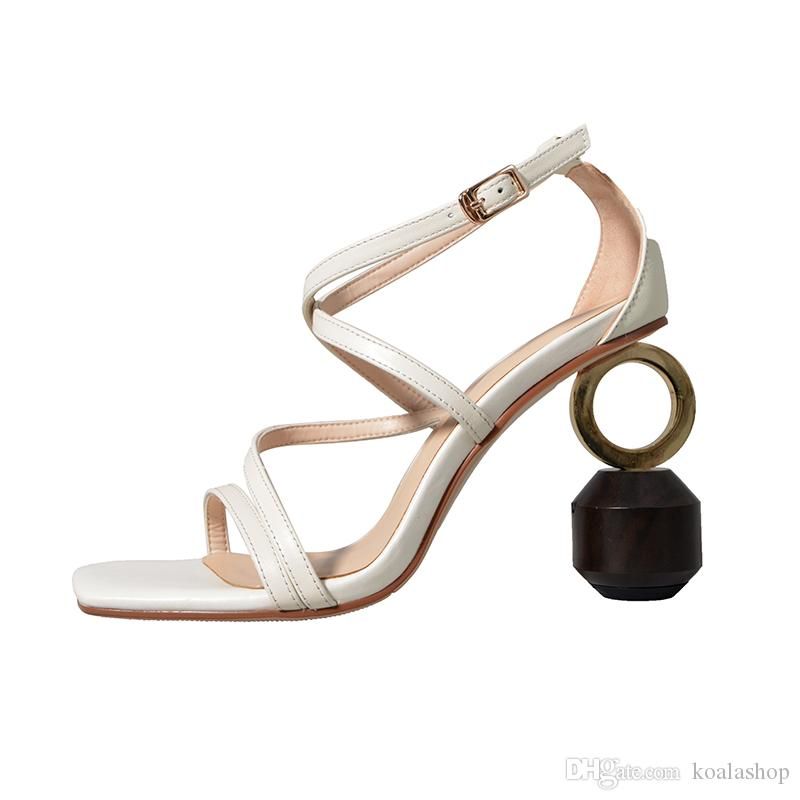 New Sexy Geometric Block heel Sandals Women Black square Strange High heels Slingbacks Gladiator Sandals Summer Shoes Women