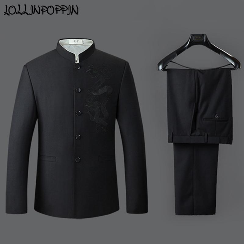 3705ba46f Dragón bordado hombres estilo chino trajes de cuello mandarín chaqueta  pantalones para hombre traje negro túnica