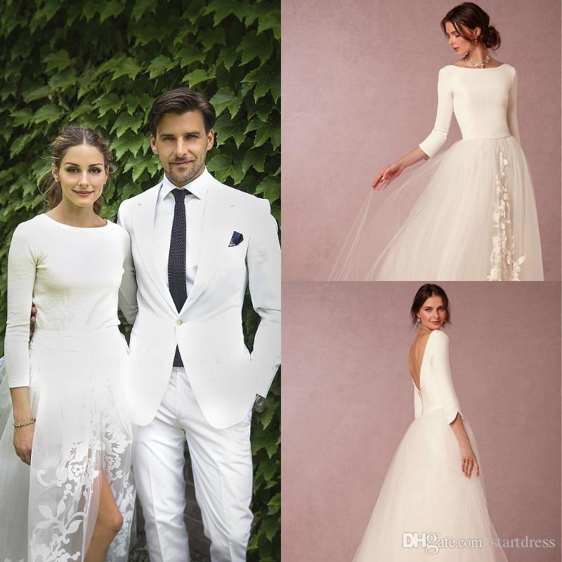 7f231533e9 Unique Bohemian Modest Ivory Wedding Dresses With 3/4 Sleeves Top Satin  Under Soft Tulle Lace Bridal Wedding Dress Simple Beach Cheap Robes Dress  Dresses ...