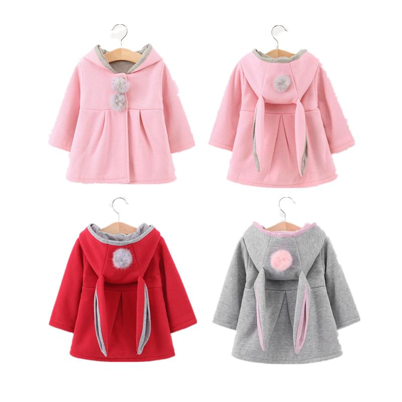 3fef7cd02 New Winter Coats Baby Girls Long Sleeve Jacket Rabbit Ear Hoodie Outerware  Baby Autumn Winter Coat Toddler Cotton Clothes