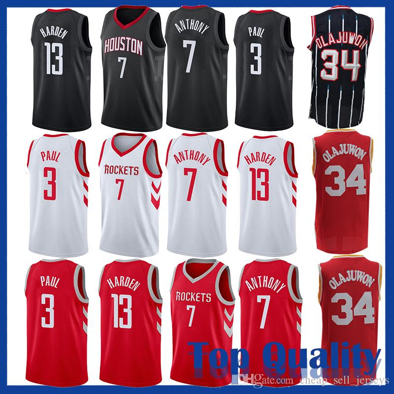 detailed look 3d7a5 e3b0b Houston 13 James Harden jerseys Rocket 3 Chris Paul 7 Anthony Jersey  basketball Jersey men fans clothes printed Rockets top