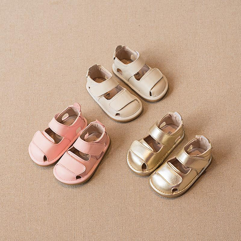d6370f8525e25 2019 New Baby Shoes Genuine Leather Baby Girls Sandals Cowhide Non ...