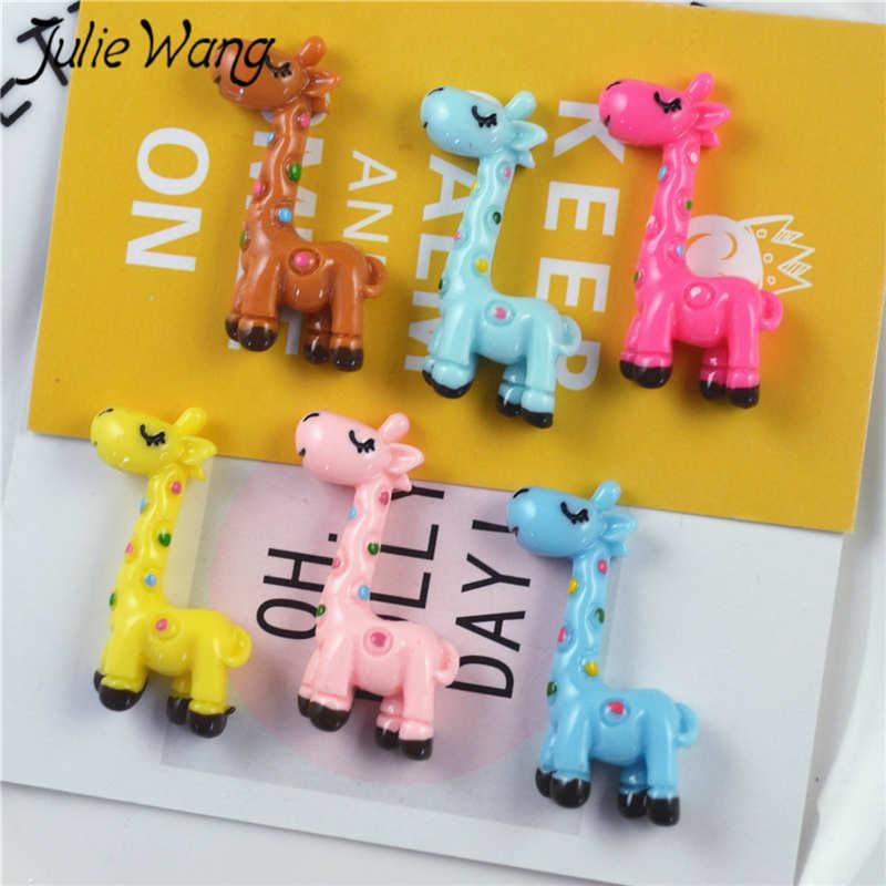 Julie Wang 10PCS Resin Cartoon Flatback Giraffe Charms Multicolor Animal Pendant Jewelry Making Accessory Table Props Decoration
