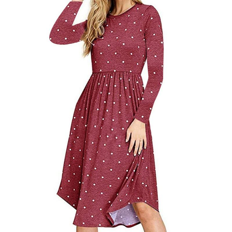 93721ec263fd7 Women Vestidos Party Dress Pleated Polka Dot Pocket Swing Casual Midi Dress  Plus Size Long Sleeve Worldwide Dropship Long Cocktail Dresses Elegant  Evening ...