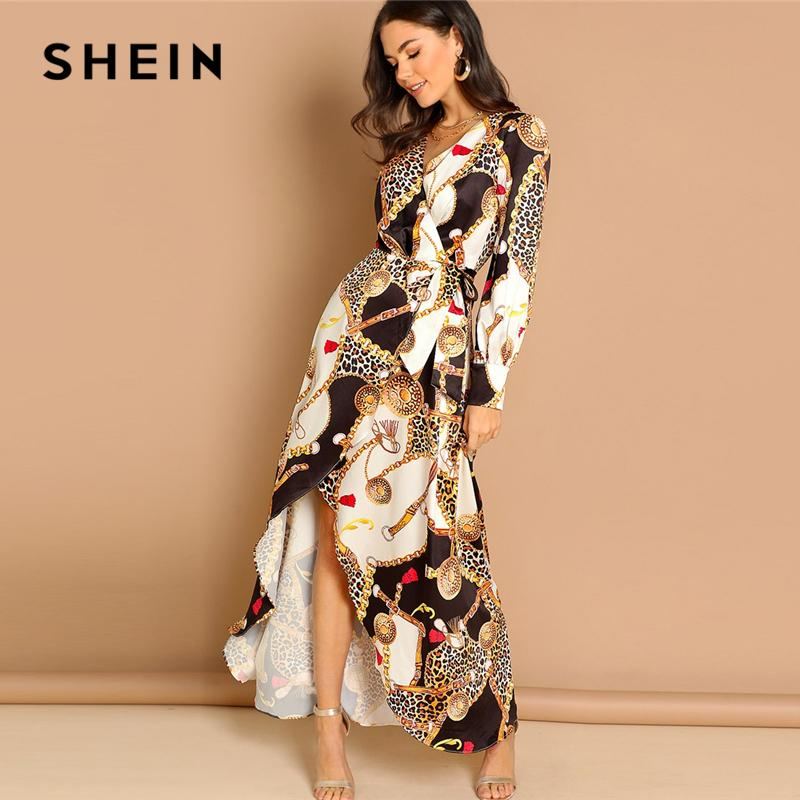 f25a3f27b3 SHEIN Multicolor Mixed Print Surplice Wrap Satin Dress Deep V Neck Long  Sleeve Women Autumn Maxi Fit And Flare Elegant Dresses White Dress Women  Black Dress ...