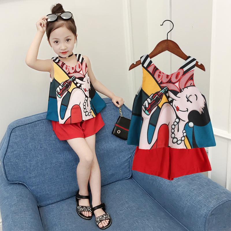 92873b33332 2019 Children S Clothing Summer 2019 New Sleeveless Cartoon Chiffon Top +  Shorts Set Baby Girl Clothes From Breenca