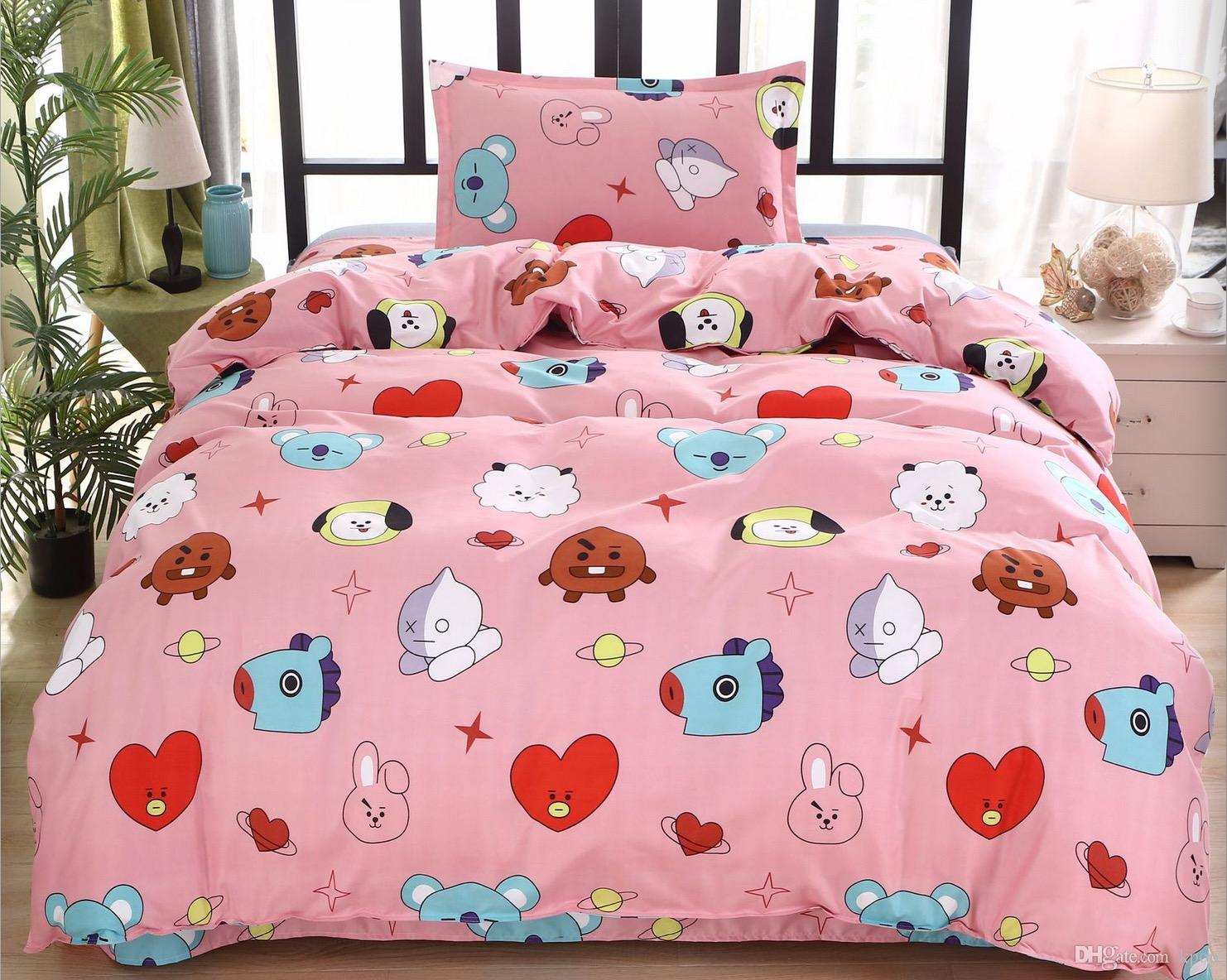 Bts Bt21 Bedding Sets Quilt Cover 150 200cm Flat Sheet