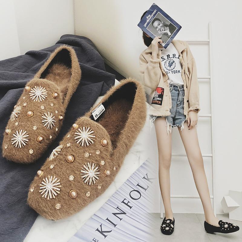 0272cf5efe9 Compre Zapatos Planos De Mujer Con Pedrería Bling Bling Zapatos Planos De  Piel Real Peludos Zapatillas De Deporte Ocasionales De La Mujer Zapatos De  ...