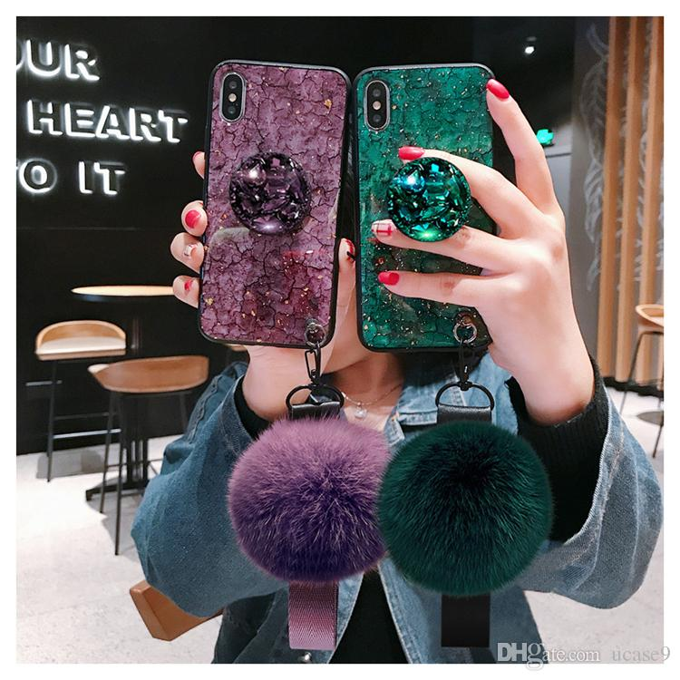 For Apple iPhone X Xr Xsmax 6 6s 7 7plus 8 8plus Free DHL Wholesale Colorful Fluffy Rabbit Fur Soft Silicone Shining Luxury Phone Case