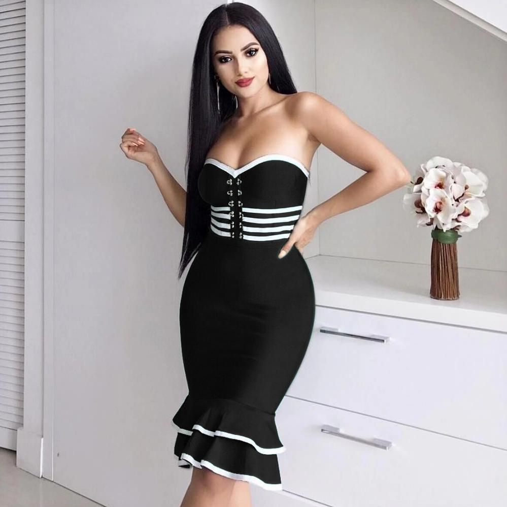d8d73a261f27b 2019 Wholesale Women Sexy Black Green Strapless Thick Rayon Bodycon ...