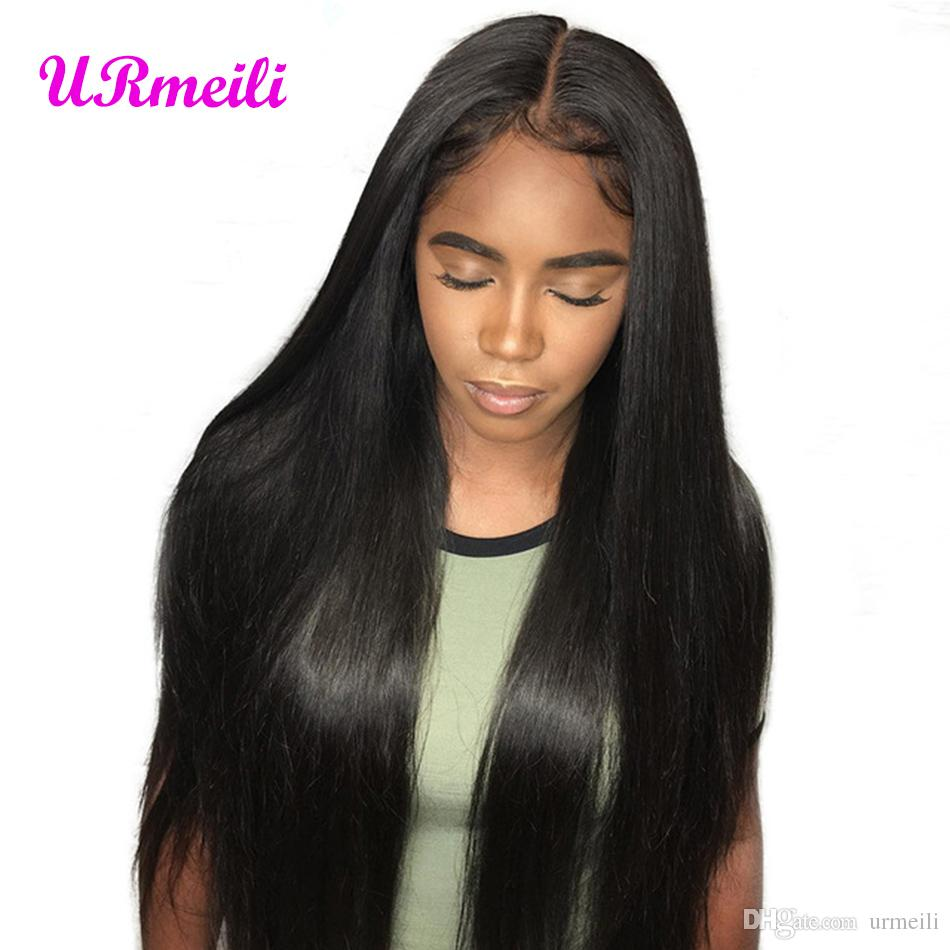 360 Lace Frontal Wig With Bangs Malaysian Straight Lace Front Human