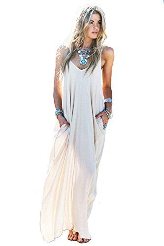 207d0fd462cb MIXMAX Women S Strappy Casual Loose Boho Chiffon Pocket Long Maxi ...