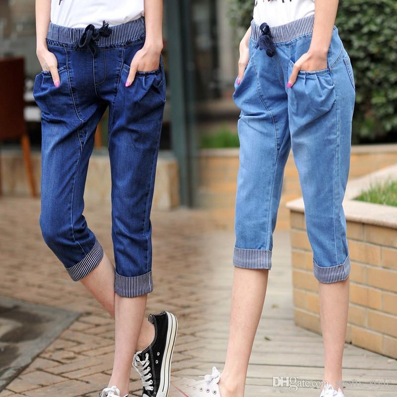 best website 2a6d6 53104 Jeans estivi di grandi dimensioni donna tasche capris donna stringate  vintage denim jeans donna pantaloni casual harem pantaloni donne C4523 #  500939