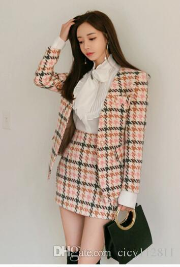 Plus2019 Korean Version Of The Spring Wool Coat + Slim Bag Hip Skirt + White Shirt Suit Three Piece Dress