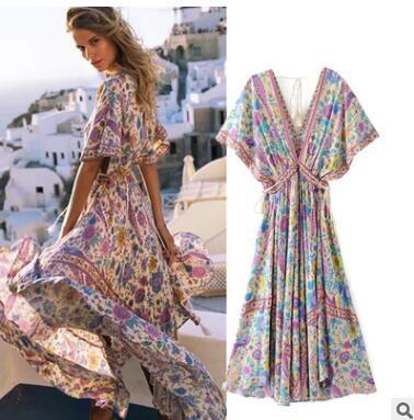 04975b4a54 Boho Vintage Floral Peacock Print Long Dress Women 2019 New Fashion ...