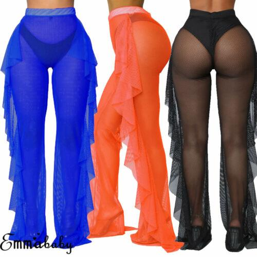 New Fashion Women's Swimsuit Bikini Cover Up Fishnet Sheer Ruffle Pants Lady Summer Casual Hollow Cool Comfortable Pants S-XL