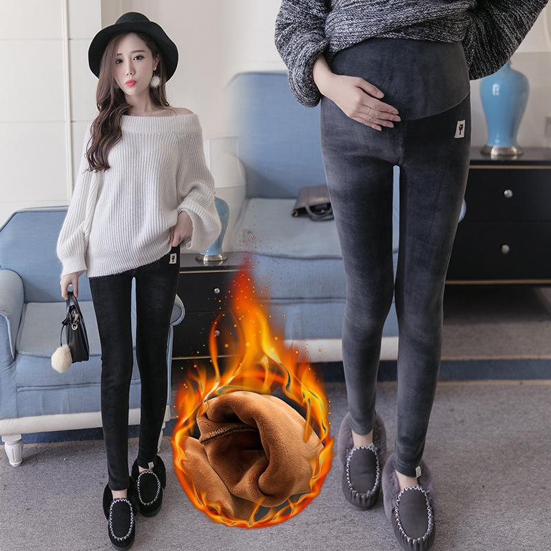 40d1e9bbccfc3 2019 Winter Maternity Plus Velvet Thickening Leggings Pants Clothes For  Pregnant Women Warm High Waist Pregnancy Trousers From Fkansis, $27.13    DHgate.Com