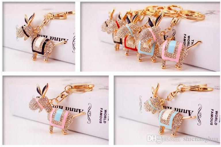 Bling Bling Crystal Rhinestone little donkey Metal Keychain Keyring Car Keychains Purse Handbag Pendant Animal donkey pendant keychain Gift