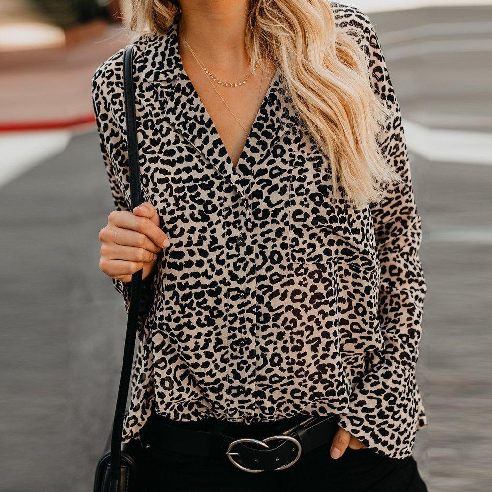 b9ec9a75d6b Leopard Top Women V-Neck Flare Sleeve Loose Casual Shirt Ladies ...