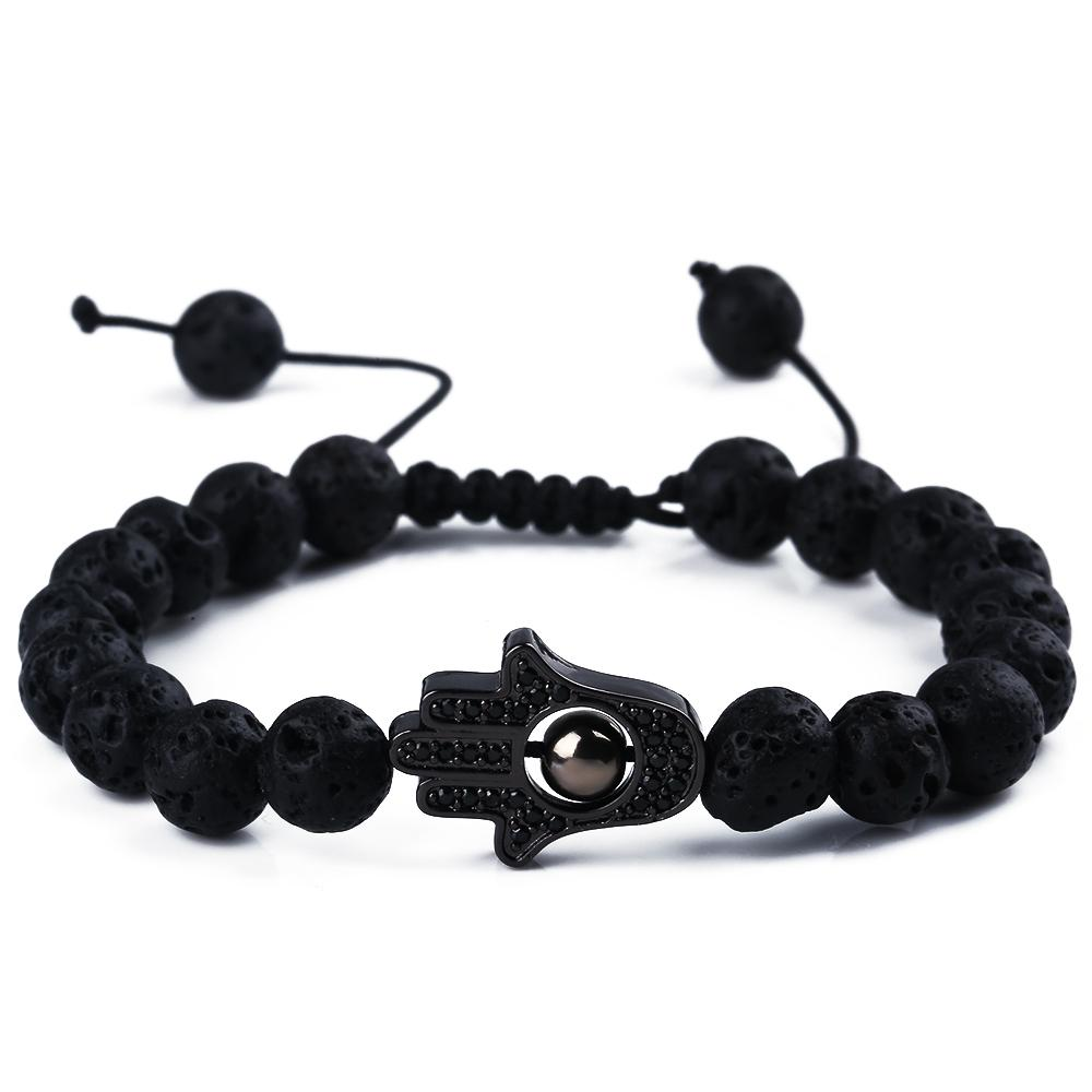 2018 H0T Fashion Classic Lava Beaded Bracelets Black Zircon for Men Women Natural Black Stone Bead Pulseras Hombre Jewelry gift