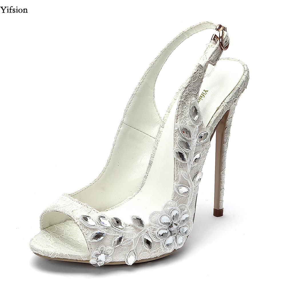 06e18a064ef4c Yifsion Women Lace Sandals Thin High Heels 12 Cm Sandals Sexy Rhinestone  Nice Peep Toe White Wedding Shoes Ladies US Size 4 10.5 Wedge Booties  Saltwater ...