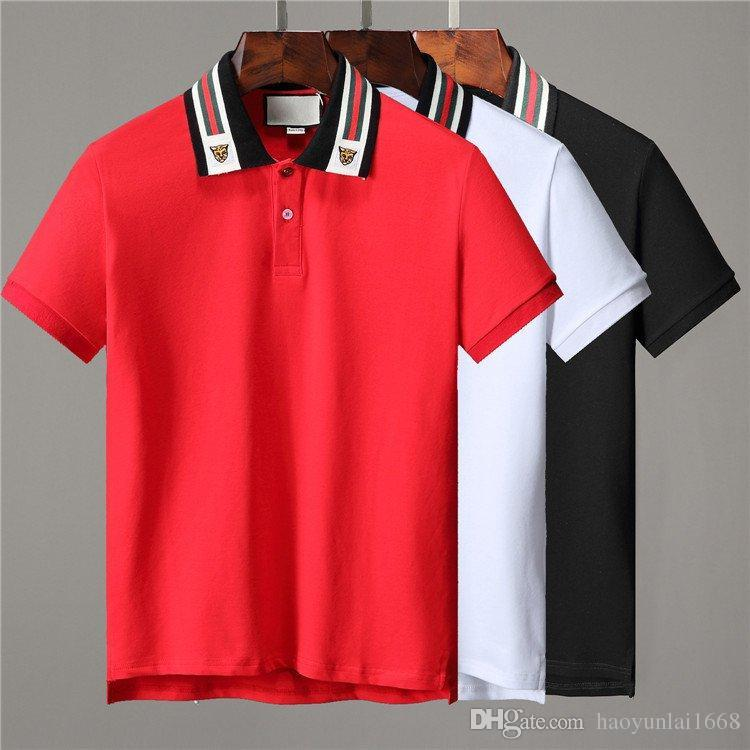 89fcd477d 2019 Ss19 Italy Cotton Polo With Web And Feline Head Men Tiger Striped  Solid Polo Shirt Collar G Polos Mens T Shirts Clothing G551 Poloshirt From  ...