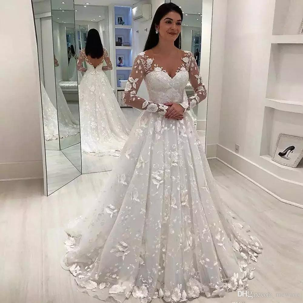 African Lace Embroidery Fabric Floral Short Tail New Fashioned Wedding Dress with White Sash Bridal Dress