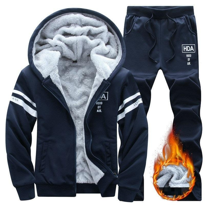e078ad05e689 2019 Winter Men Set Casual Warm Thick Hooded Jacket+Pants Sets Men Inner Fleece  Hoodies Zipper Tracksuit Male Sports Suit Outwear From Goodtshirt004