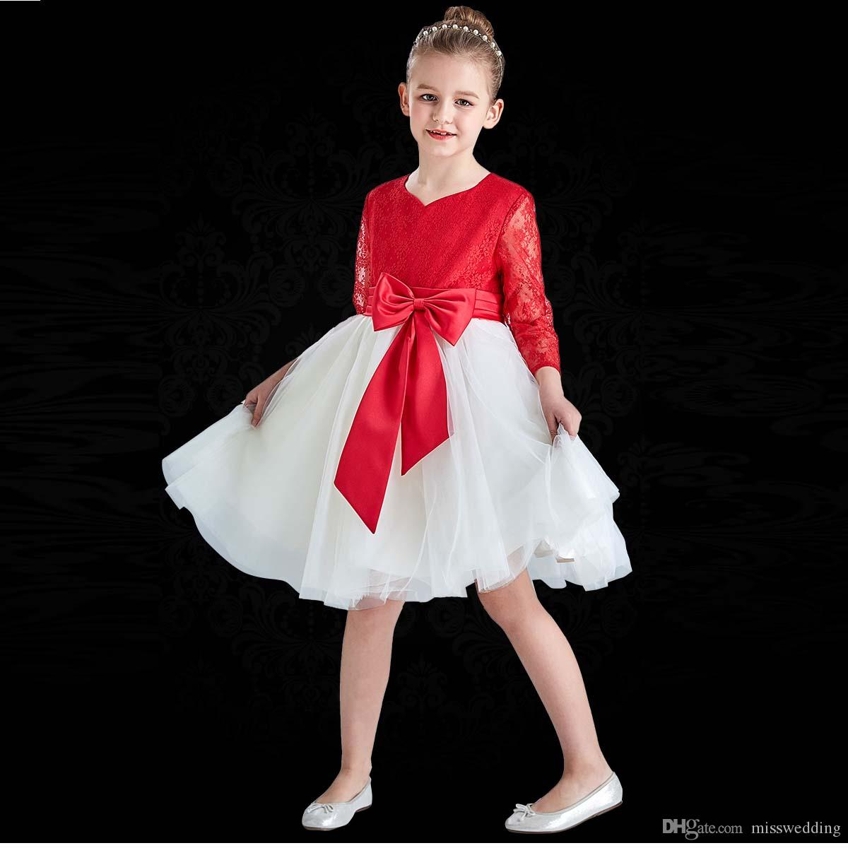 65e312e2ff48 2019 New Design Long Sleeve Lace Bodice Children Dresses With Belt Knee  Length Zip Back Girls Pageant Dress Ivory Flower Girl Shoes Little Girls  Shoes From ...