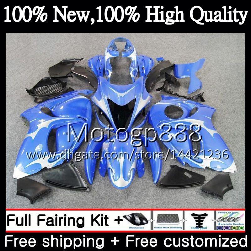Body For SUZUKI Hayabusa GSXR1300 08 09 10 11 19PG35 GSX R1300 12 13 14 15 GSXR 1300 Blue silver 2012 2013 2014 2015 Fairing Bodywork