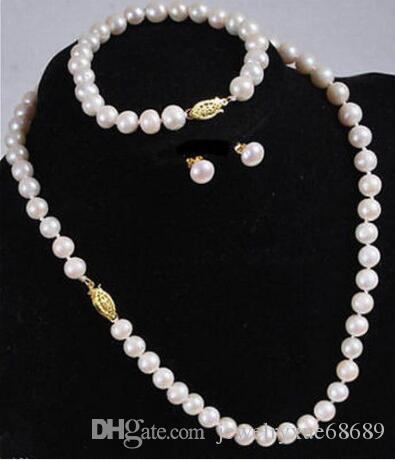 "sets 9-10mm south sea round pearl necklace 18"" &bracelet 7.5-8"" &earring14k/20sgvgvb"