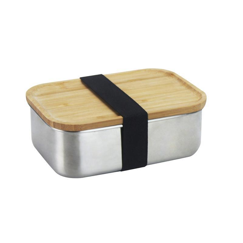 de94478c918f 800ML 304 Stainless Steel Square Lunch Box with Wood Lid Food Container  Bento Box School Outdoor Camping Lunch Box C18112301