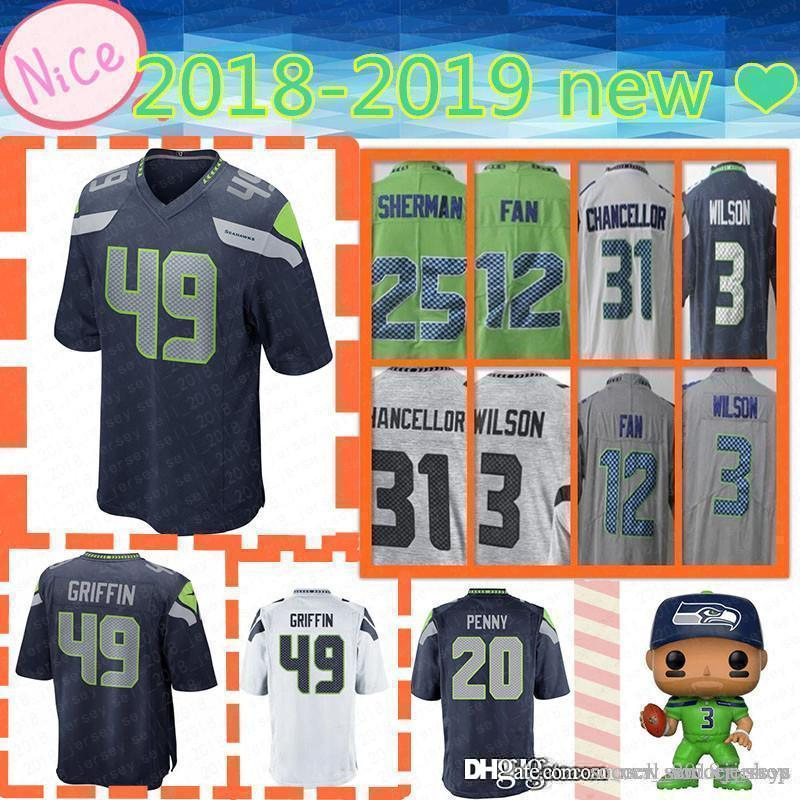 sneakers for cheap 2bebd 18b49 new Mens Adult Jersey Seattle Seahawk 20 Rashaad Penny 49 Shaquem Griffin 3  Russell Wilson 31 Kam Chancellor 12 Fan Jerseys