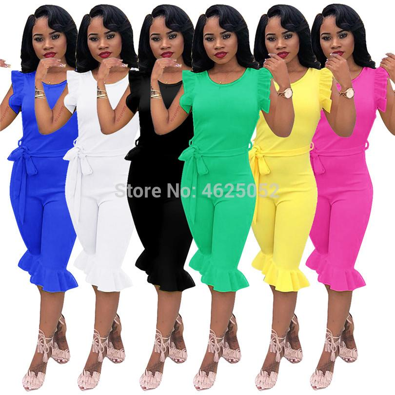 6d4d8e3ca87 2019 WHITE Black Green Yellow Blue Elegant Office Lady Ruffle Jumpsuit  Women Clothing Tunic Party Bodycon Slim Female Overalls Outfit From Robertiu