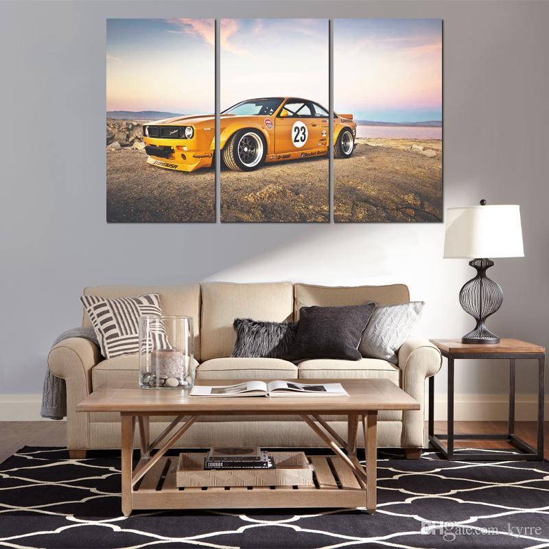 Cartaz da lona 3 painéis nissan sx foguete coelho imagem pintura impressa para sala de estar decoração da parede