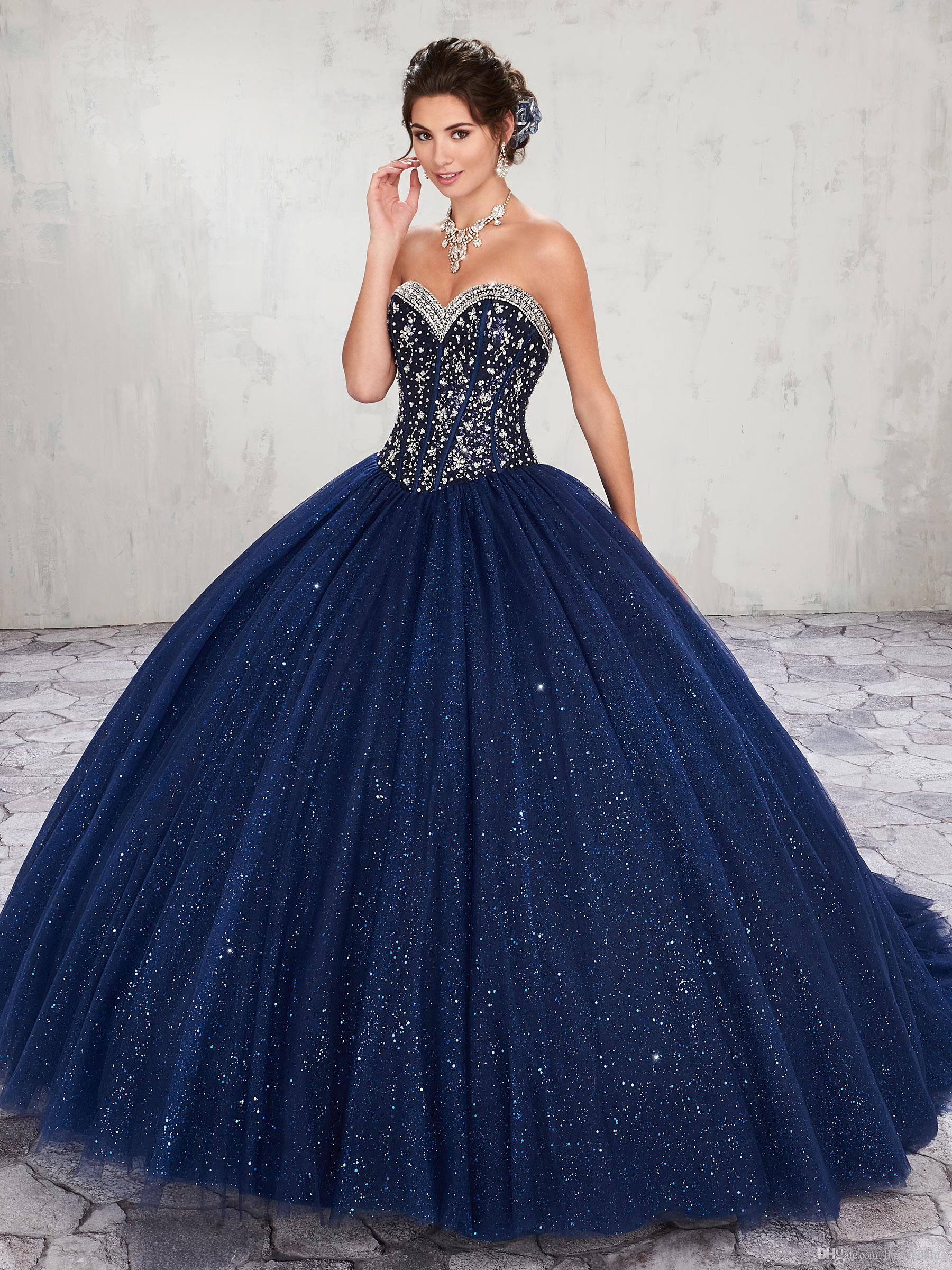 Blue dark with gold quinceanera dresses photo fotos