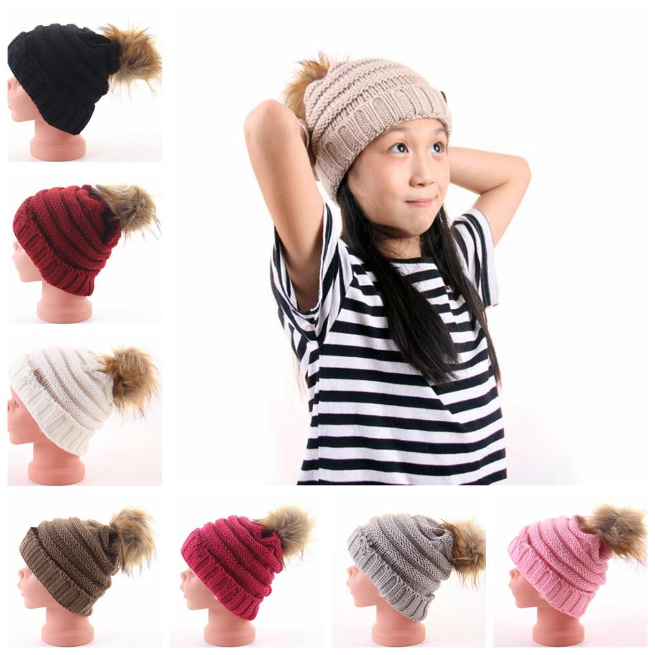 Kids Pom Pom Beanies Knitted Fur Poms Cable Slouchy Skull Caps Outdoor Warm  Hats Child Skullies Beanies OOA5986 Pom Pom Beanies Kids Pom Pom Hat Kids  ... 687aea29facc