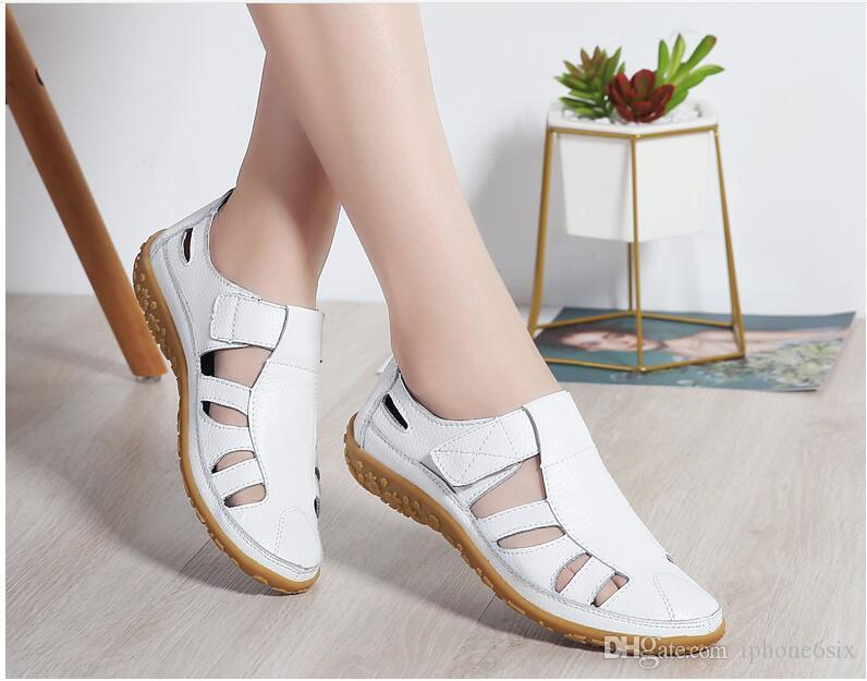 2019 fashion Hollow out Genuine leather sandals flat summer shoes Soft bottom Women comfortable sandals Mother shoes flat Hole shoes