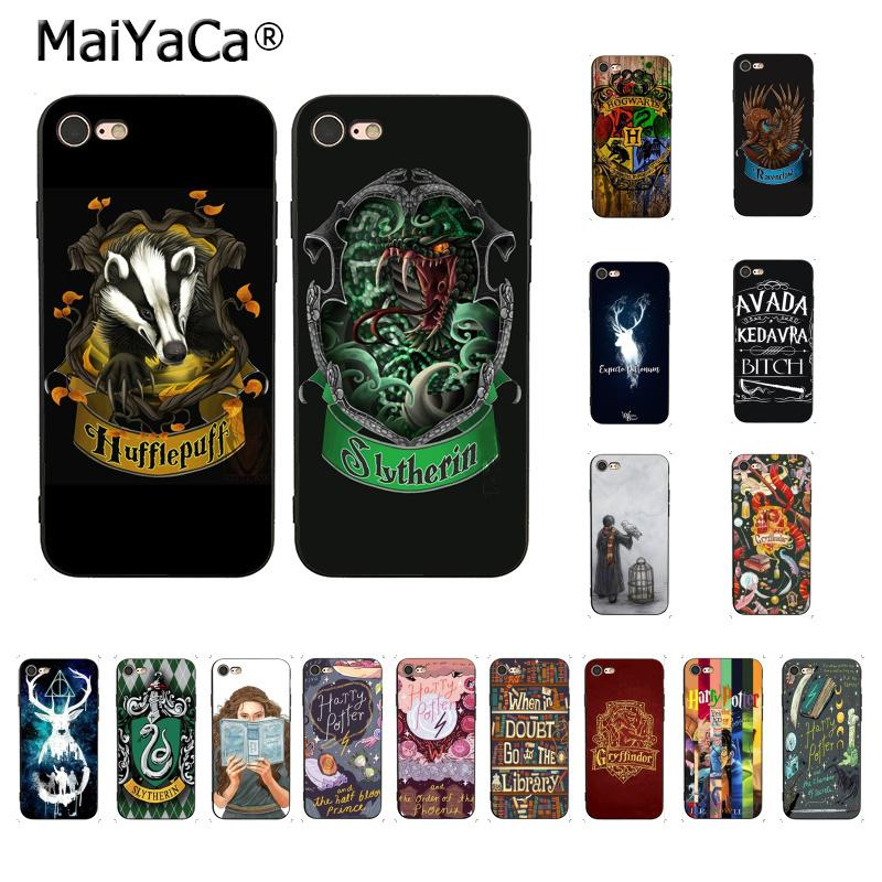 newest ff55f c50ca For iphone 7 6 X Case Harry Potter Gryffindor Hufflepuff Ravenclaw  Slytherin Phone Case for iPhone 8 7 6 6S Plus X 5 SE