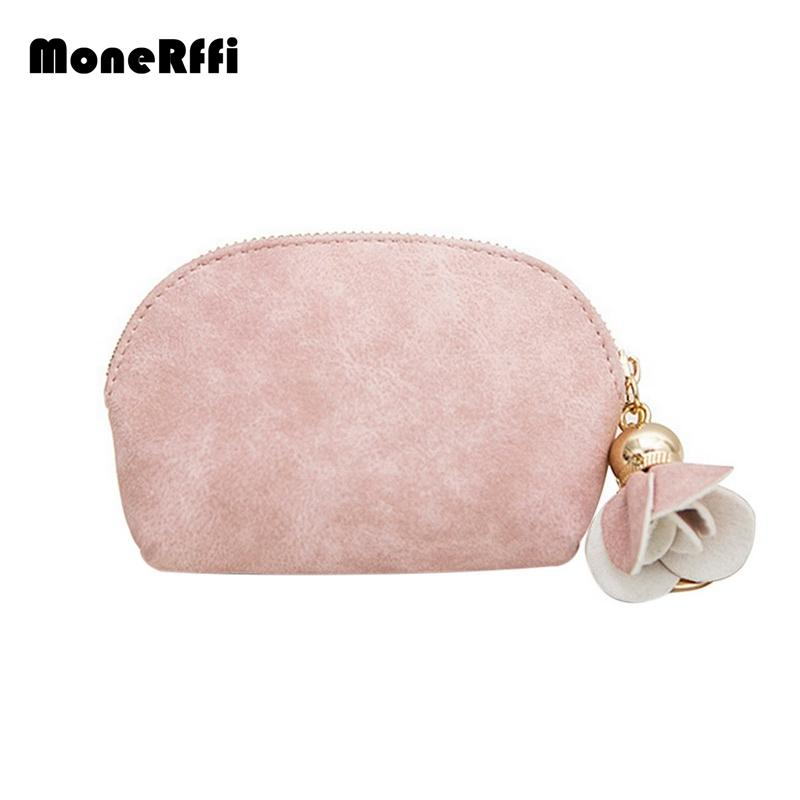 MoneRffi Women's Wallet Short Cute Love Students Small Fresh Wallet Ladies PU Leather Mini Coin Purse Card Key Holder Zipper