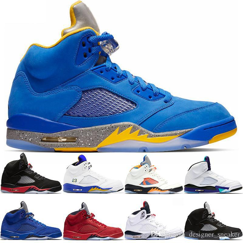 0e913caef7cb Laney 5s Men Basketball Shoes 5 Bred International Flight Blue Red ...