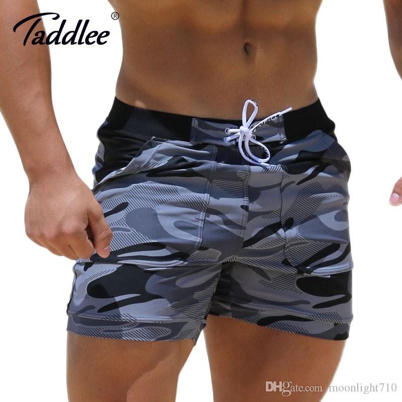 Taddlee Sexy Men's Swimwear Swimsuits Man Plus Big Size XXL Spandex Beach Long Board Shorts Boxer High Rise Cut Trunks Men