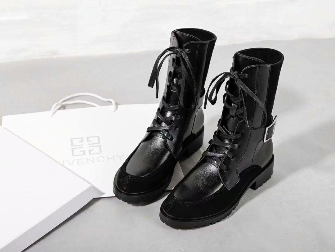 559a5751d 2018 new autumn designer ladies Martin boots fashion stretch women's boots  low-heeled casual boots original box Two-color stitching