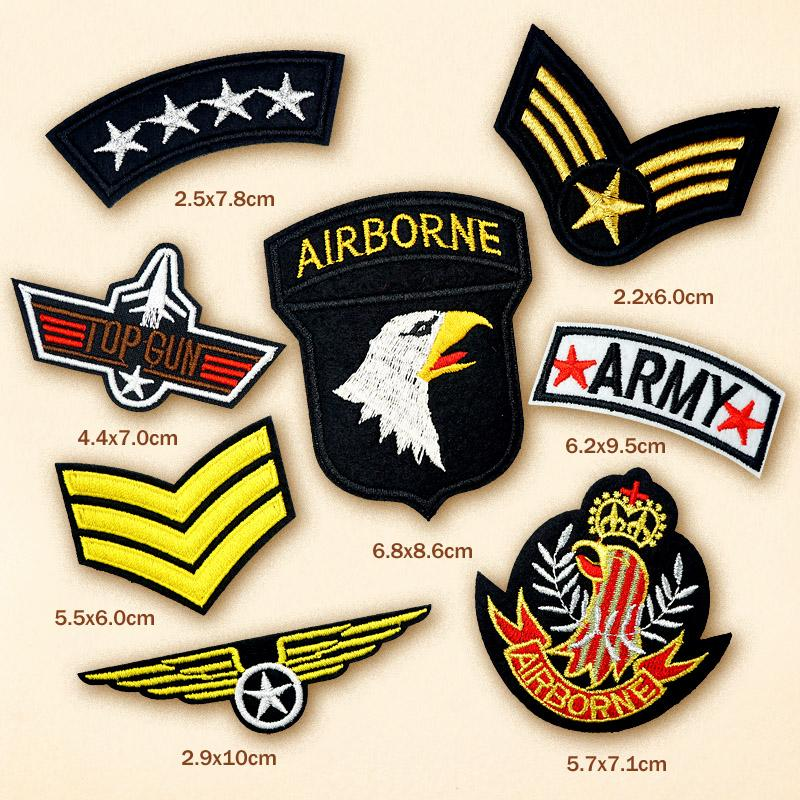 100pcs/lot TOP GUN AIRBORNE DIY Cloth Patch Badge Embroidered Cute Badges  Hippie Iron On Kids Cartoon Patches For Clothes Stickers