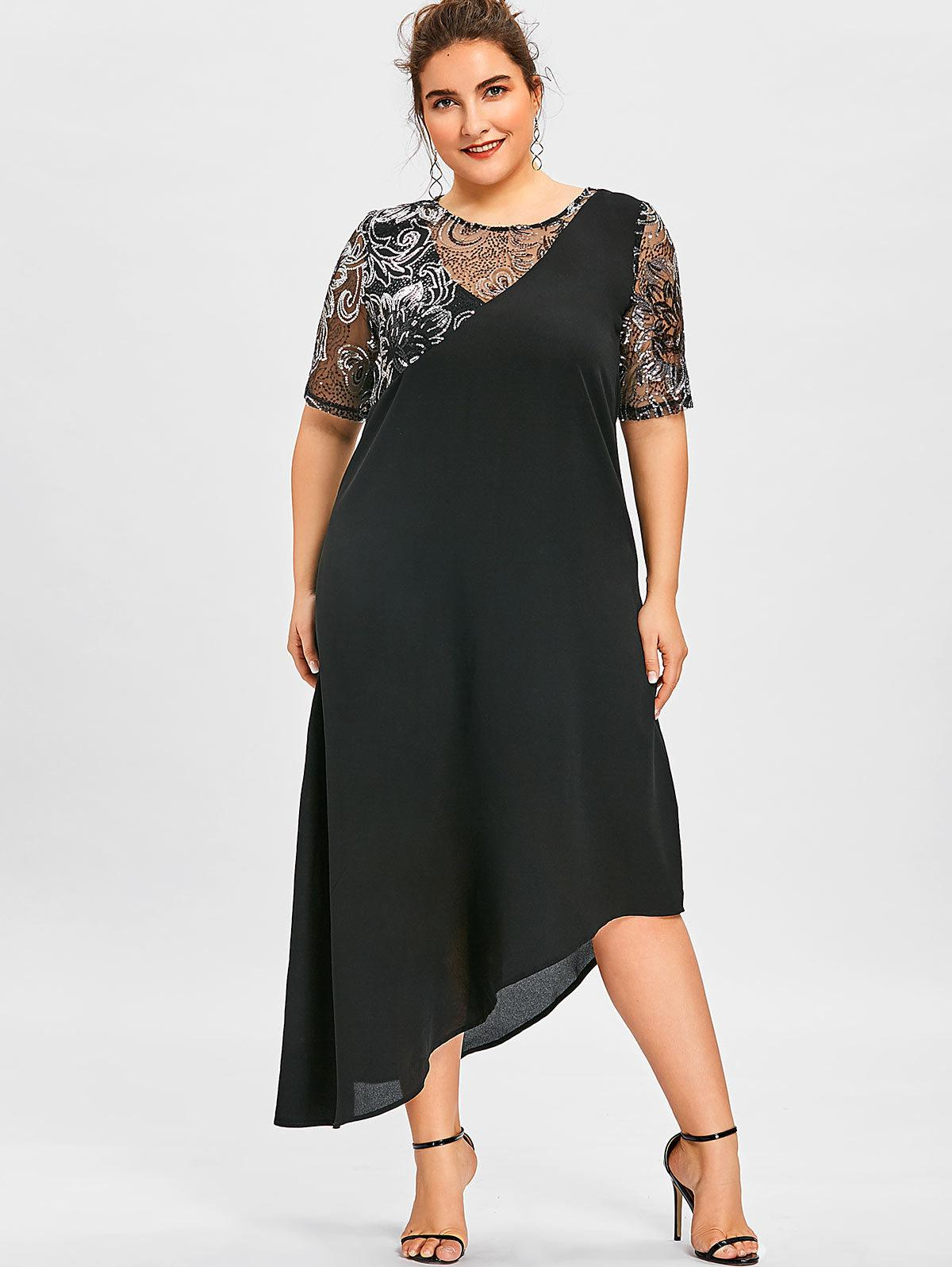 2019 Wipalo Women Sparkly Party Dresses Plus Size 5xl Sequined ...