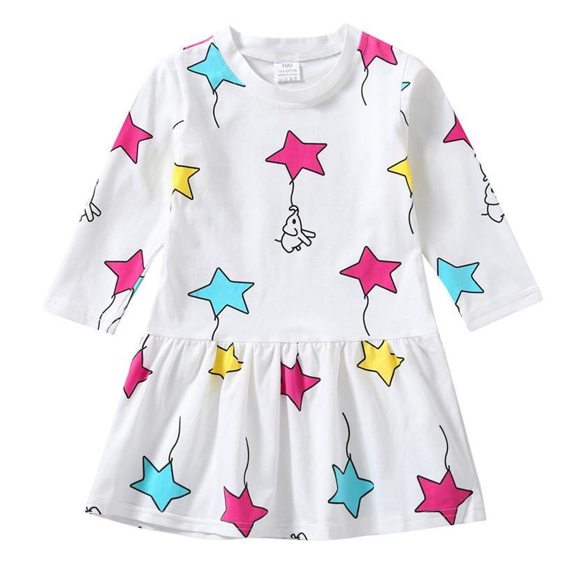 b4846ebff3c97 Acheter Automne Vêtements De Bébé À Manches Longues Fille Robe Bébé Enfants  Filles Étoile Imprimé Parti Princesse Robes Enfant Filles Robe O08 De   29.23 Du ...