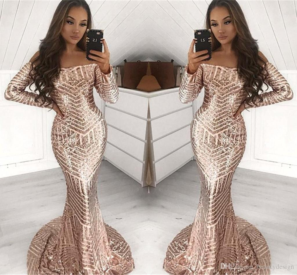 Stunning Full Sequined Long Sleeve Champagne Mermaid Prom Dresses Off Shoulder African Black Girls Event Party Gowns Evening Dress Wear